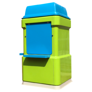 Blue and green fibreglass kiosk