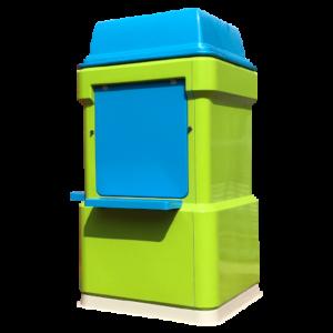 Blue and green fibreglass kiosk